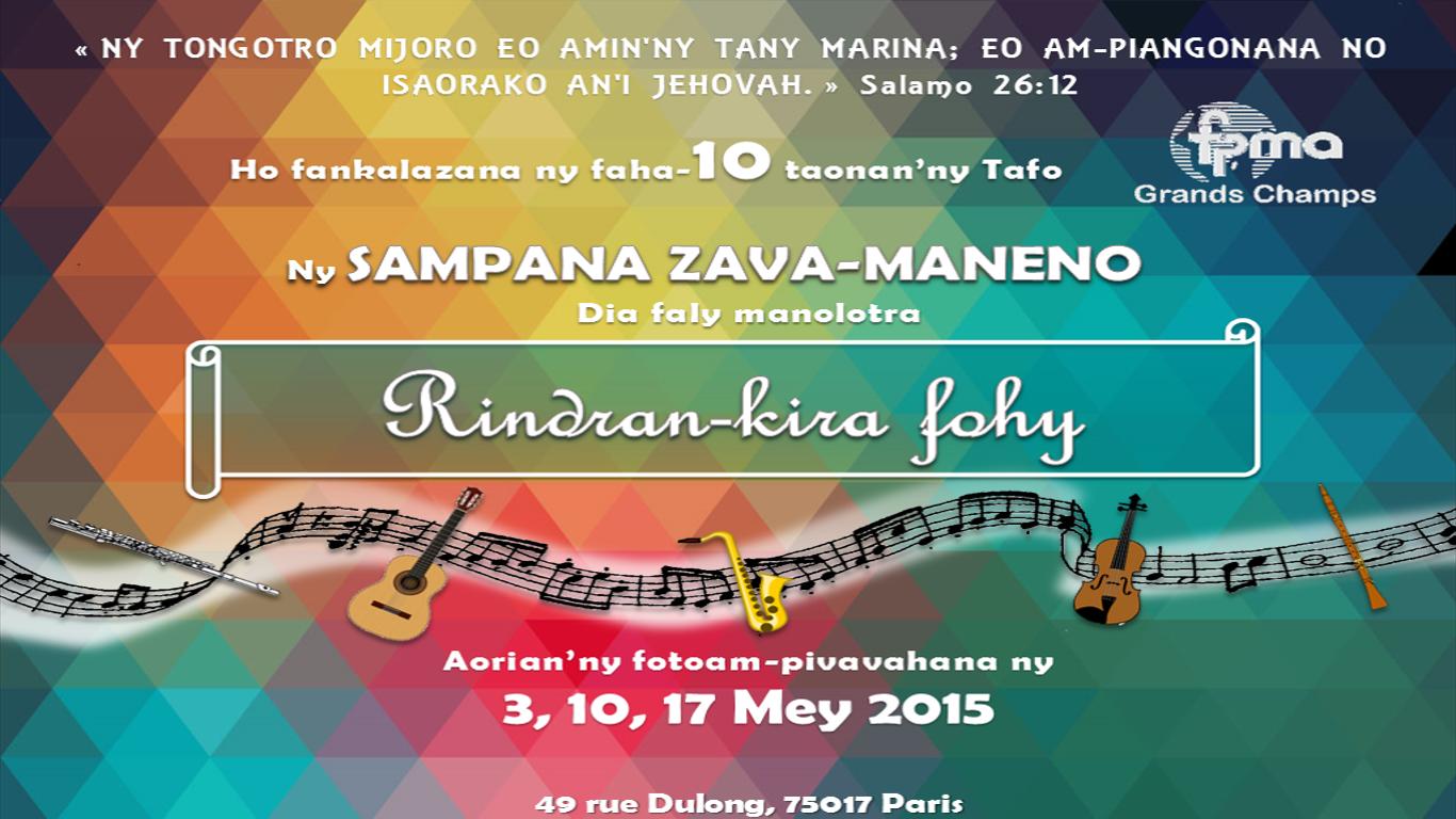 Faha-10 taonan'ny Tafo - Sampana Zava-Maneno - Volana Mey